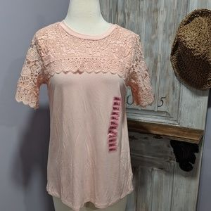 Adrianna Papell blush pink lace-top tee